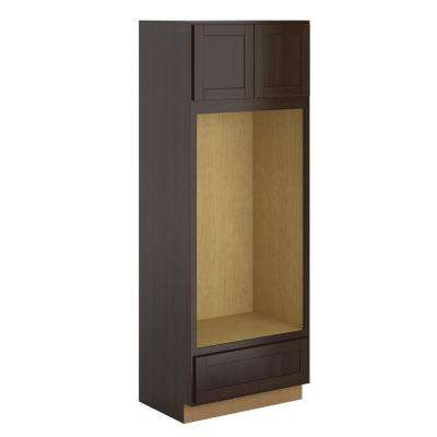 Princeton Shaker Assembled 33x90x24 in. Pantry/Utility Double Oven Cabinet in Espresso