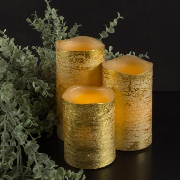 Distressed Metallic Gold Flameless Real Wax LED Candles with Remote (Set of 3)