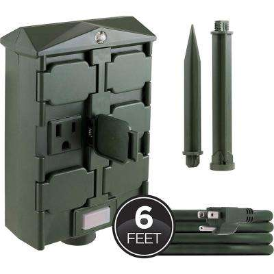 6-Hour Outdoor Photocell Stake Timer with 6-Grounded Outlets, 6 ft. Cord