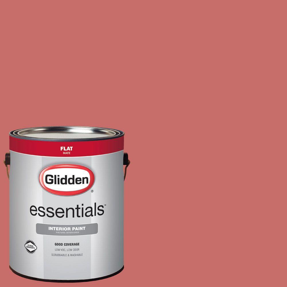 Glidden Essentials 1 gal. #HDGR59D Coral Berry Flat Interior Paint ...