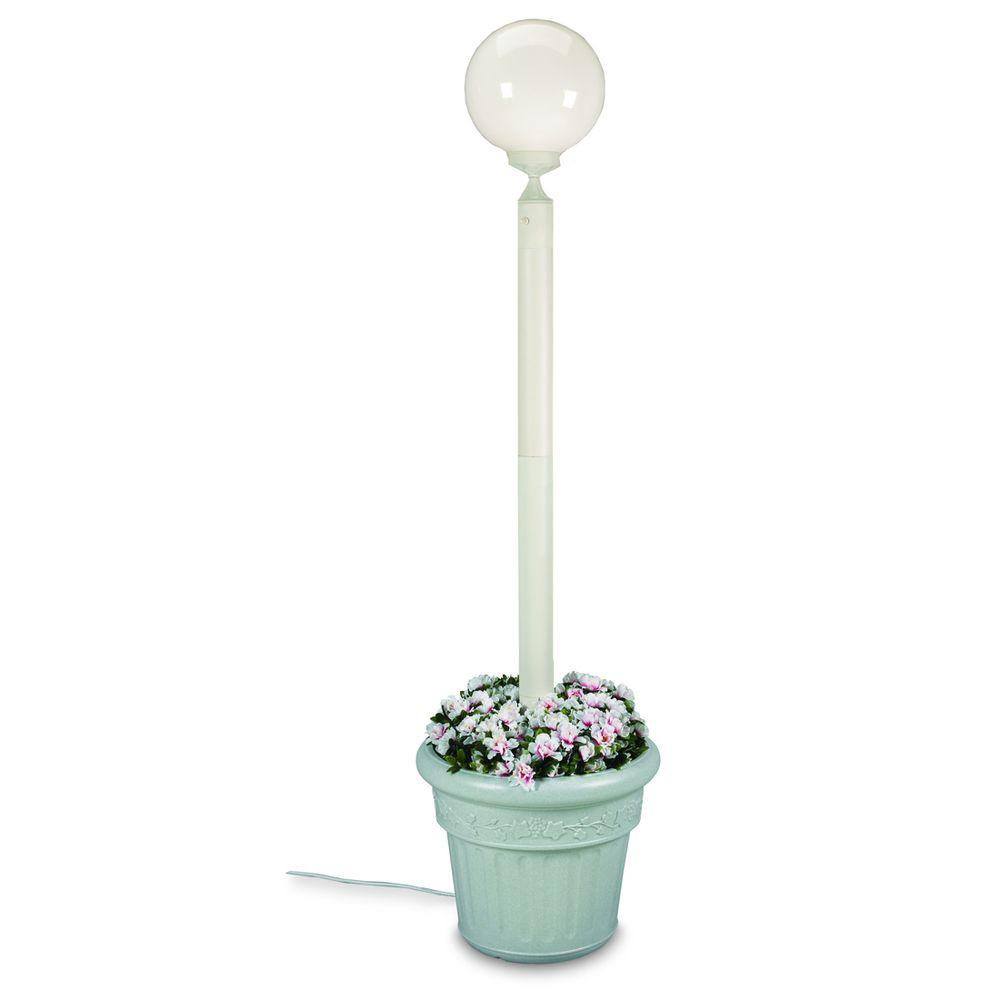 Patio Living Concepts European Single Globe Plug-In Outdoor White Lantern with Planter