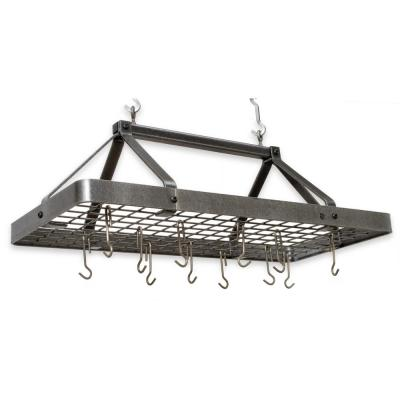 Handcrafted Carnival Rectangle Ceiling Pot Rack with 18 Hooks Hammered Steel