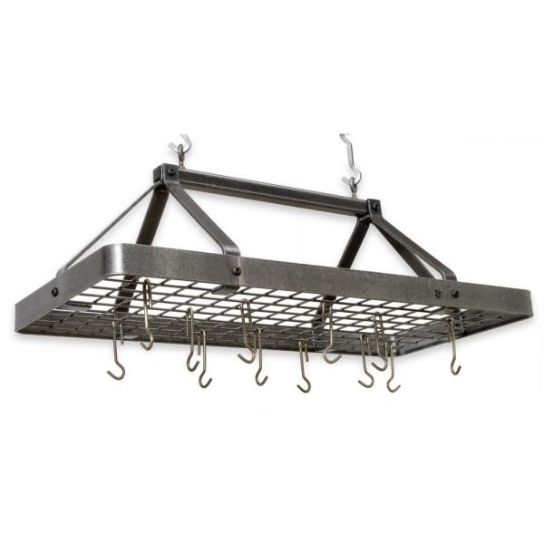 Enclume Handcrafted Carnival Rectangle Ceiling Pot Rack with 18 Hooks Hammered