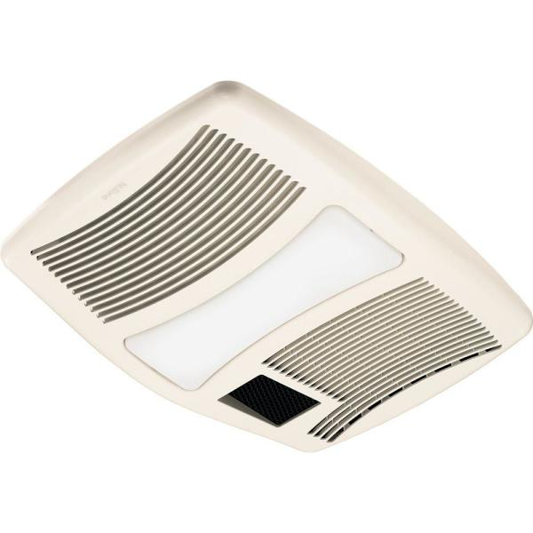 QT Series Very Quiet 110 CFM Ceiling Bathroom Exhaust Fan with Incandescent Light and Heater