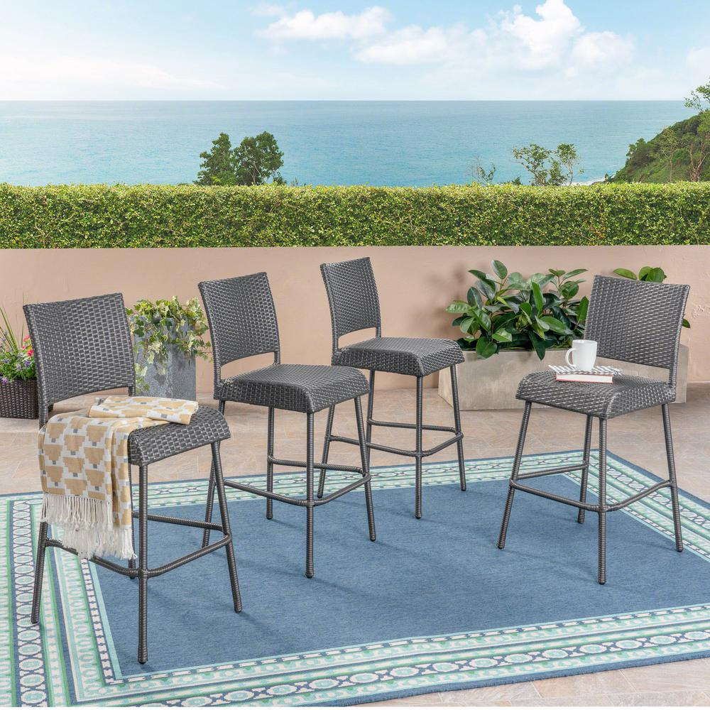 Noble House Timothy Gray Wicker Outdoor Bar Stool (4-Pack)