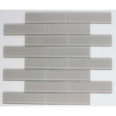 12 in. x 12.5 in. x 8 mm Tile Esque Grey Lined Glass Mesh-Mounted Mosaic Tile