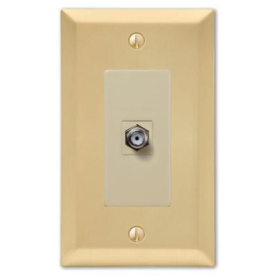 Metallic 1 Gang Coax Steel Wall Plate - Satin Brass
