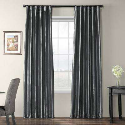 Graphite Gray Blackout Faux Silk Taffeta Curtain - 50 in. W x 120 in. L