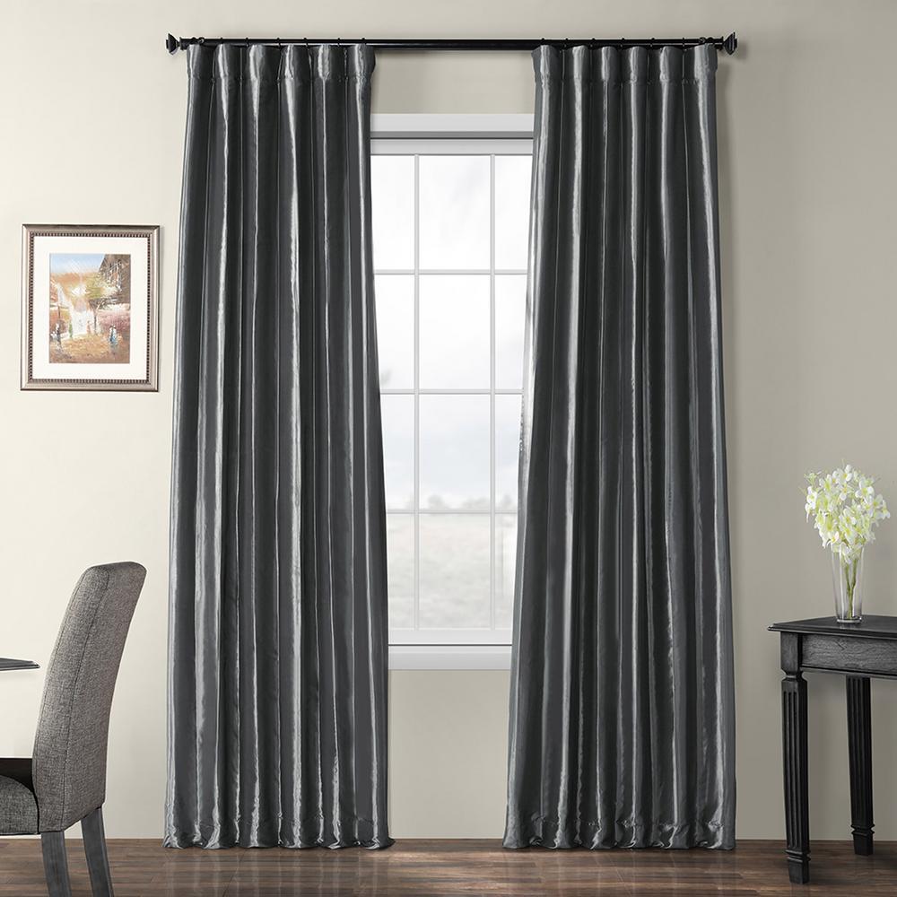 Graphite Gray Blackout Faux Silk Taffeta Curtain - 50 in. W x 96 in. L