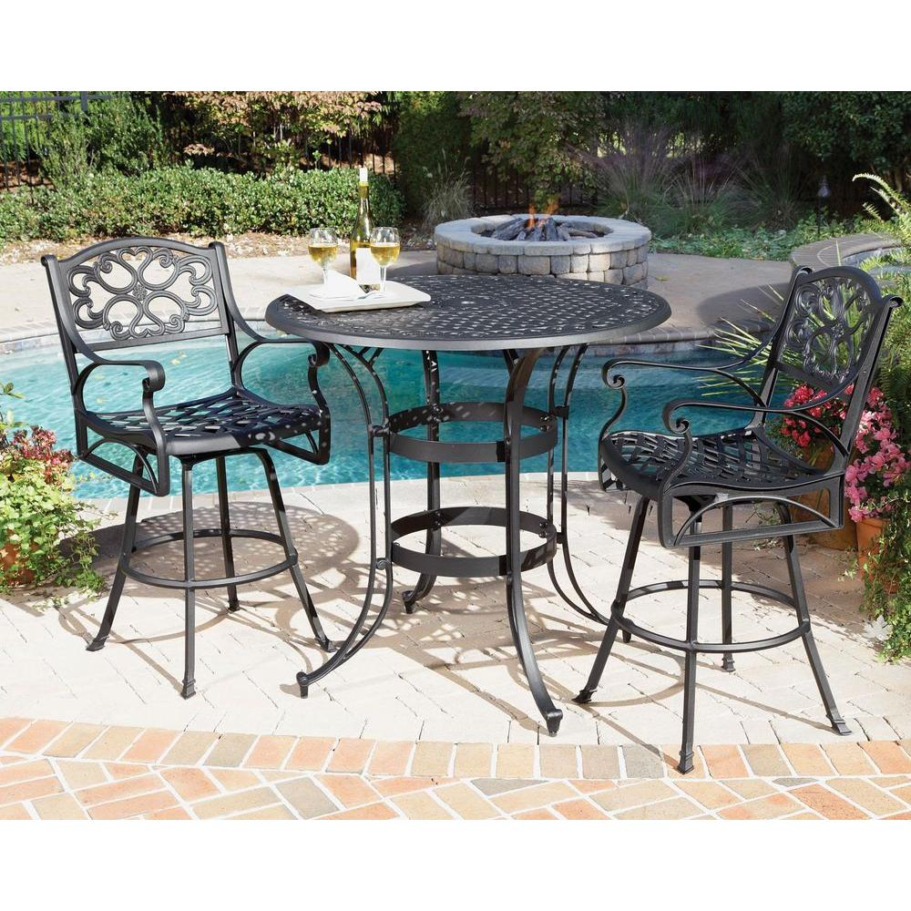 Home Styles Biscayne Black 3-Piece Round Patio Bistro Set-DISCONTINUED