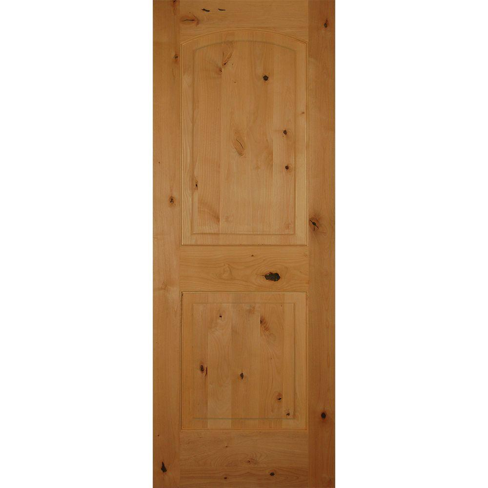 Builder's Choice 28 in. x 80 in. 2-Panel Arch Top Unfinished Solid Core Knotty Alder Single Prehung Interior Door
