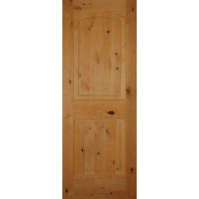 2-Panel Arch Top Unfinished Solid Core Knotty Alder Single Prehung Interior Door