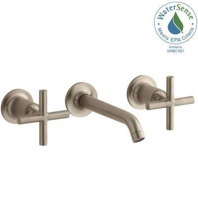 Purist Wall-Mount 2-Handle Water-Saving Bathroom Faucet Trim Kit in Vibrant Brushed Bronze