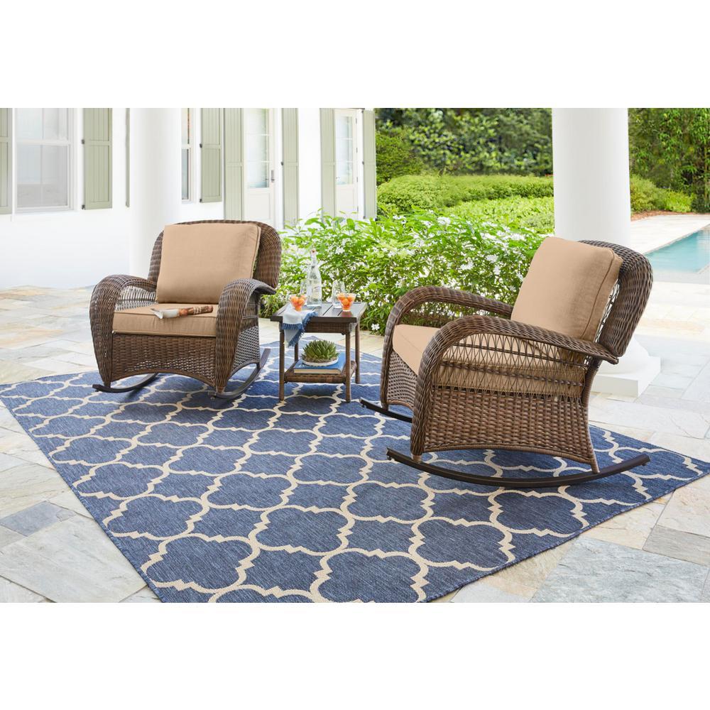 Beacon Park Brown Wicker Outdoor Patio Rocking Chair with Sunbrella Beige Tan Cushions