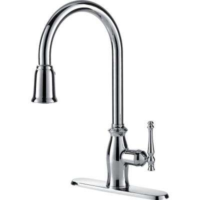 Traditional Collection Single-Handle Pull-Down Sprayer Kitchen Faucet in Chrome