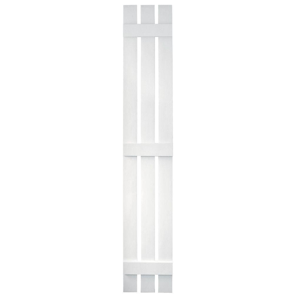 Builders Edge 12 in. x 80 in. Board-N-Batten Shutters Pair, 3 Boards Spaced #001 White