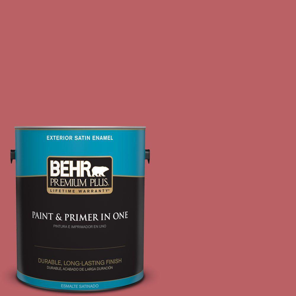 BEHR Premium Plus 1-gal. #150D-6 Strawberry Rhubarb Satin Enamel Exterior Paint, Reds/Pinks