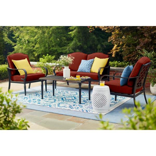 Laurel Oaks 4-Piece Brown Steel Outdoor Patio Conversation Seating Set with Sunbrella Henna Red Cushions