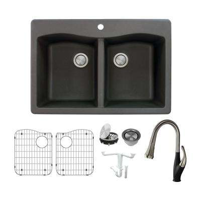 Aversa All-in-One Drop-in Granite 33 in. 1-Hole Equal Double Bowl Kitchen Sink with Faucet in Black