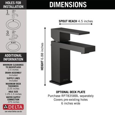 Modern Project-Pack Single Hole Single-Handle Bathroom Faucet in Matte Black
