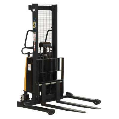 2,000 lb. Capacity 63 in. High Stacker with Powered Lift with Adjustable Forks Over Adjustable Support Legs