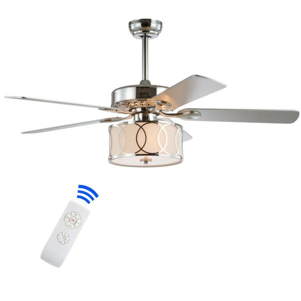 Jonathan Y Circe 52 In Chrome 3 Light Drum Shade Led Ceiling Fan With Light And Remote Jyl9607a The Home Depot