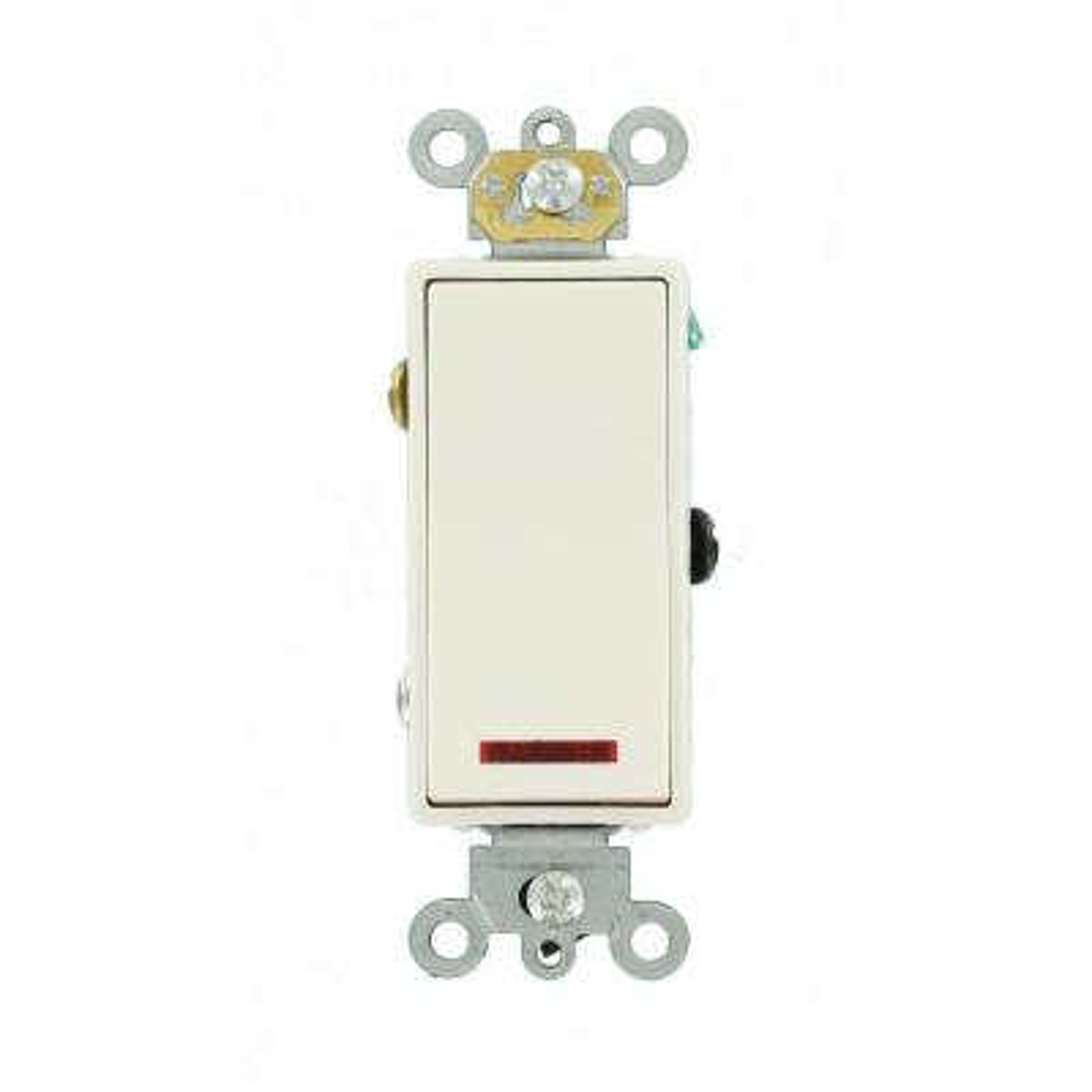 20 Amp Decora Plus Commercial Grade Single Pole Rocker Switch with Pilot Light, White