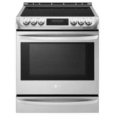 6.3 cu. ft. 30 in. Slide-In Electric Smart Range with ProBake Convection, Induction, Self Clean Oven in Stainless Steel