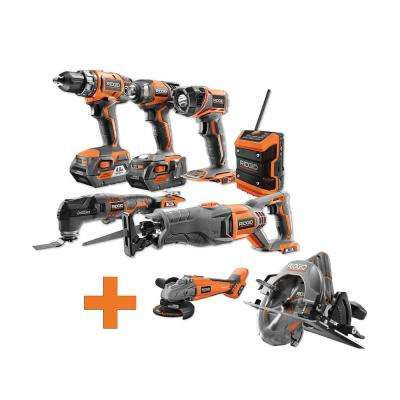18-Volt Lithium-Ion Cordless Combo Kit (6-Tool) (2) 4Ah Batt and Charger w/Bonus Brushless Circ and Angle Grinder