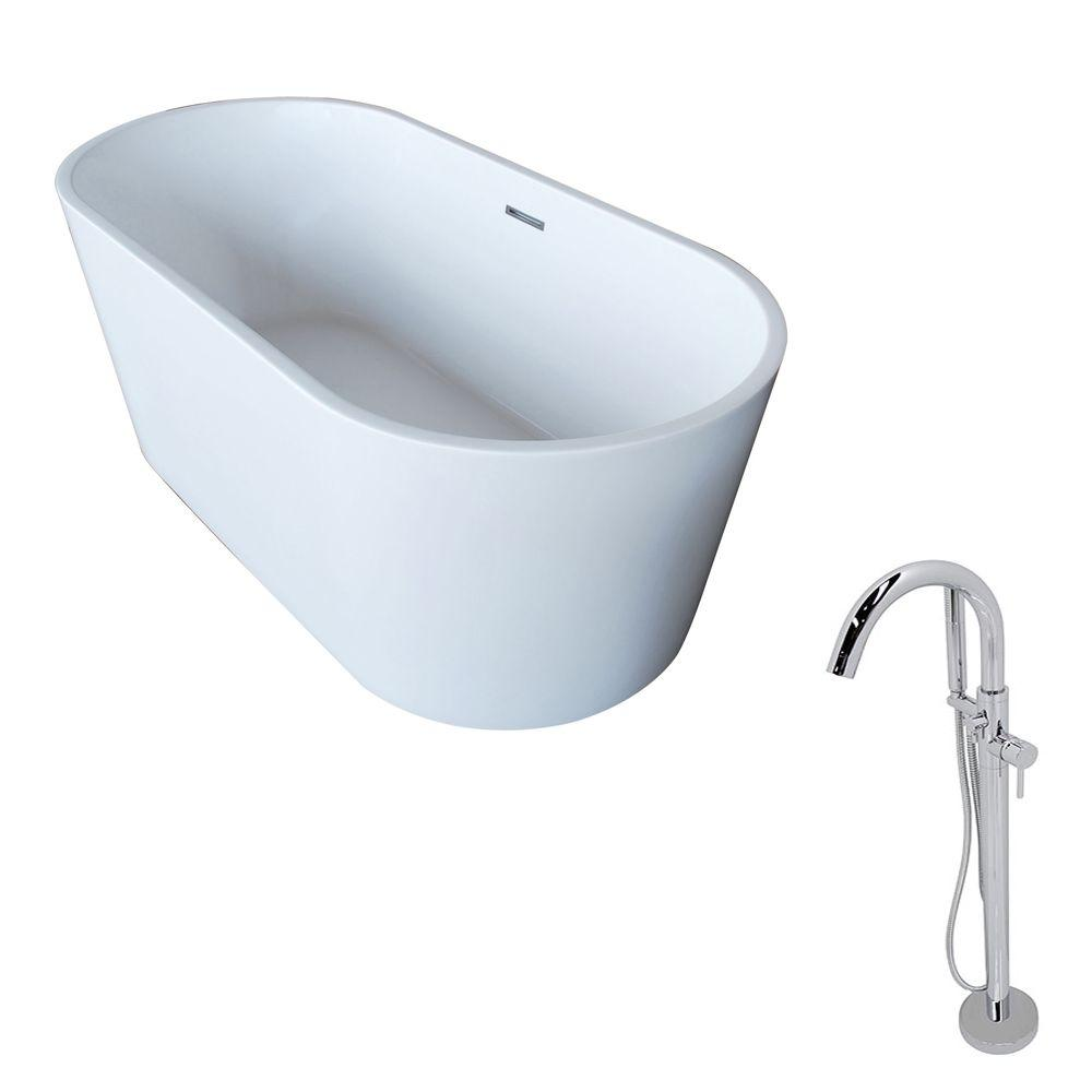 Dover 67 in. Acrylic Classic Freestanding Flatbottom Non-Whirlpool Bathtub in