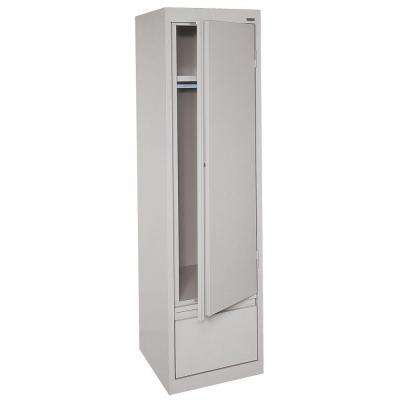 System Series 64 in. H x 17 in. W x18 in. D Single Door Wardrobe Cabinet with File Drawer in Dove Gray