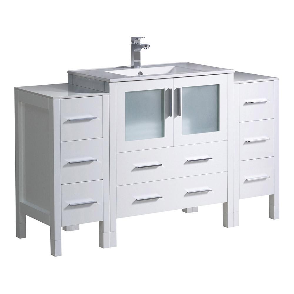 Torino 54 in. Bath Vanity in White with Ceramic Vanity Top in White with White Basin