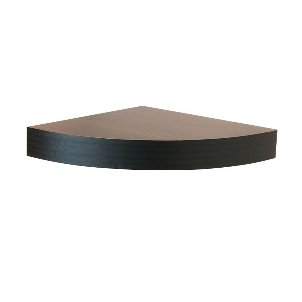 Home Decorators Collection 11.8 in. W x 11.8 in. D x 2 in. H Espresso MDF Floating Corner Shelf