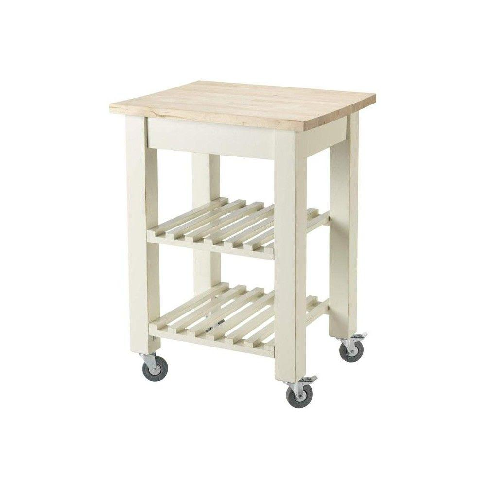 Home Decorators Collection Thomas Antique Ivory 24 in. W Kitchen Cart with Shelves
