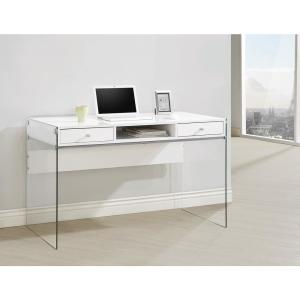 Coaster-Writing Desk with Glass Sides Glossy White and Clear