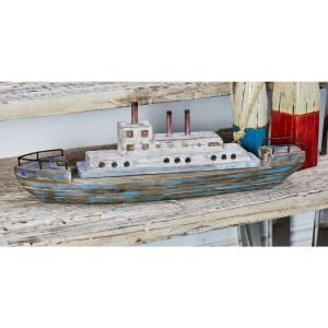 Passenger Boat Wood Sculpture