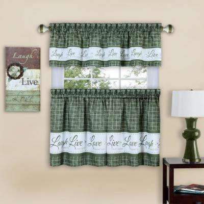 Live, Love, Laugh 58 in. W x 24 in. L Green Polyester Tier and Valance Curtain Set