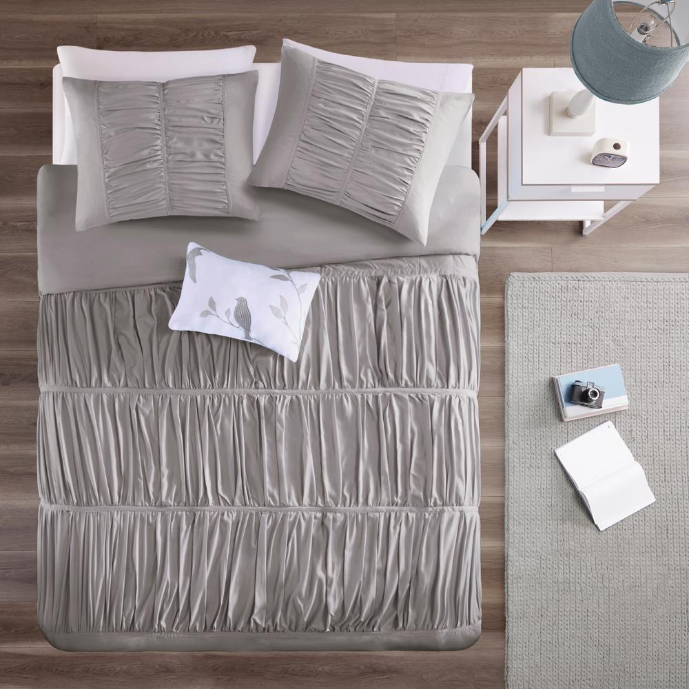 Tatiana 3-Piece Grey Twin/Twin XL Solid Duvet Cover Set