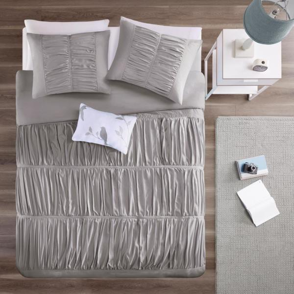 Mi Zone Tatiana 3-Piece Grey Twin/Twin XL Solid Duvet Cover Set
