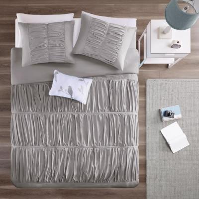 Tatiana 4-Piece Grey King/California King Solid Duvet Cover Set