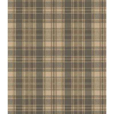 Northwoods Lodge Dark Green Plaid Wallpaper Sample