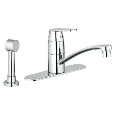 Eurosmart Cosmopolitan Single-Handle Side Sprayer Kitchen Faucet in Starlight Chrome with Escutcheon