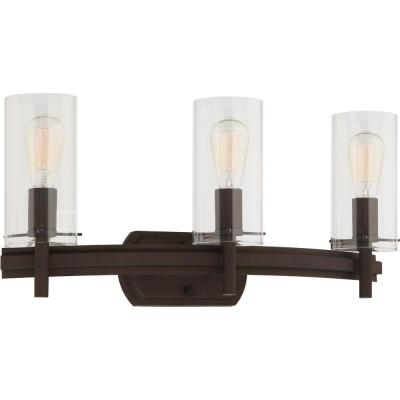 Regina 3-Light 8 in. Antique Bronze Indoor Bathroom Vanity Wall Sconce or Wall Mount with Clear Glass Cylinder Shades