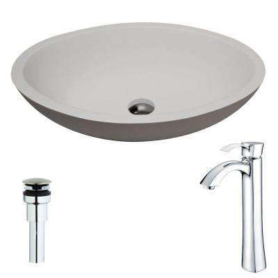Maine Series 1-Piece Man Made Stone Vessel Sink in Matte White with Harmony Faucet in Polished Chrome