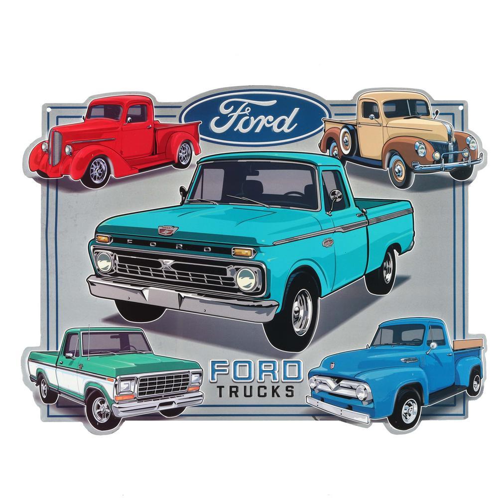 Vintage Trucks Embossed Metal Decorative Sign