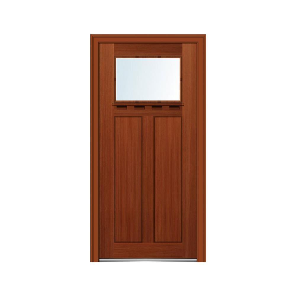 32 in. x 80 in. Left-Hand Inswing 1-Lite Clear Low-E 2-Panel Shaker Stained Fiberglass Fir Prehung Front Door w/ Shelf