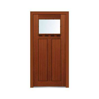 36 in. x 80 in. Right-Hand Inswing 1-Lite Clear Low-E 2-Panel Shaker Stained Fiberglass Fir Prehung Front Door w/ Shelf