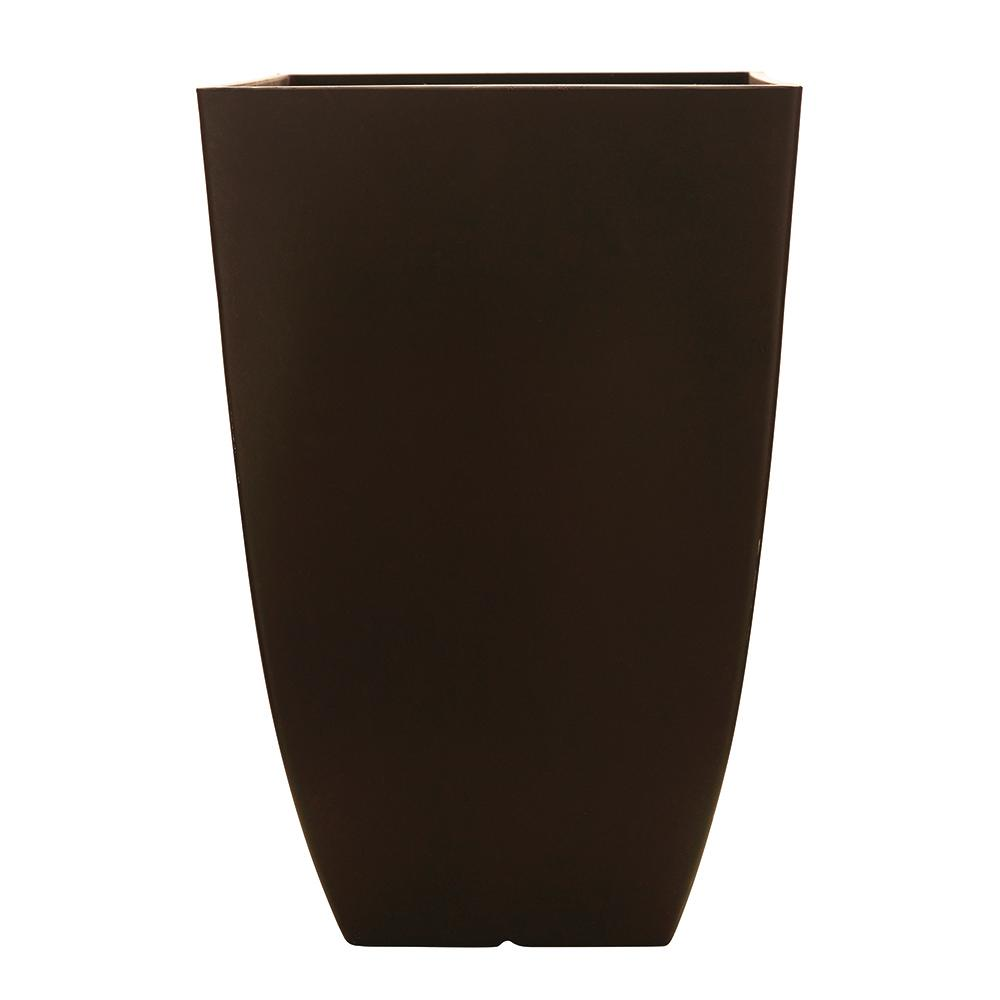 Southern Patio Newland 11.89 in. x 20.75 in. Coffee Resin Square Planter
