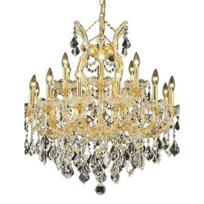 19-Light Gold Chandelier with Clear Crystal
