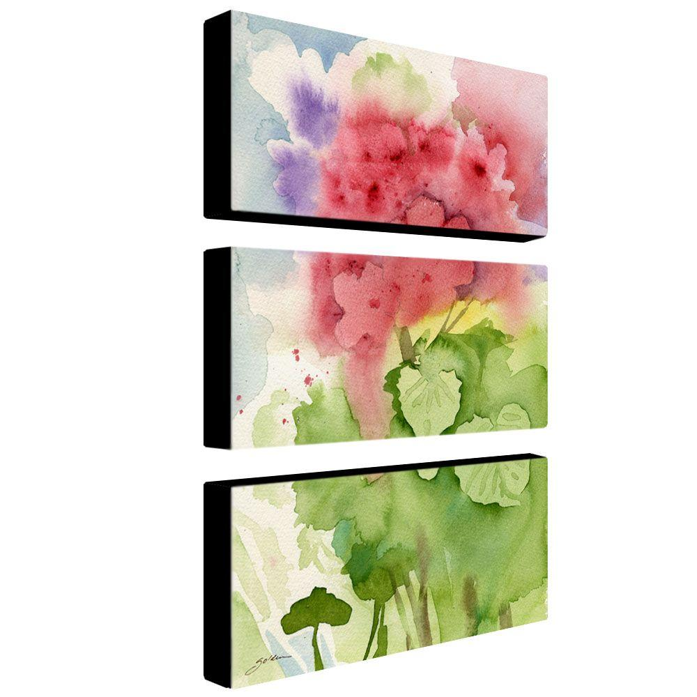 24 in. x 12 in. Pink Geranium 3-Piece Canvas Art Set